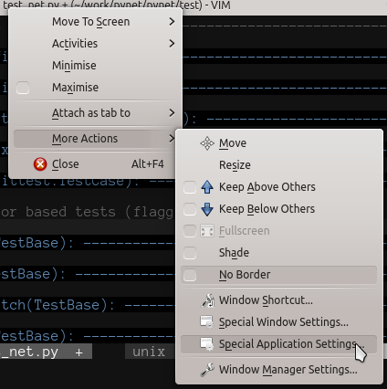 Context menu for the application.